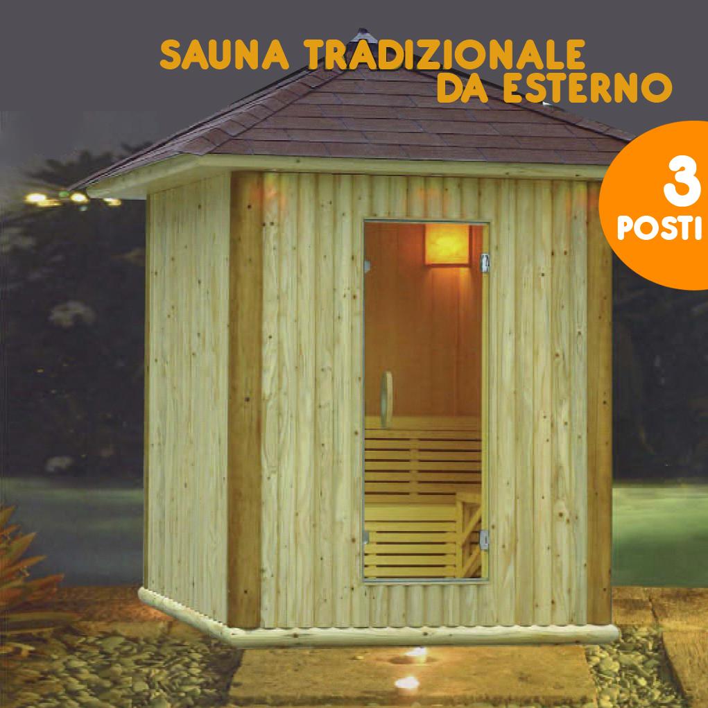 Sauna Finlandese  Sauna finlandese da esterno in abete - 3 Posti - Sauna Finlandese
