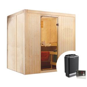 sauna finlandese suvi con stufa e pannello
