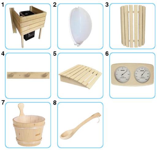 accessori interni sauna finlandese ares