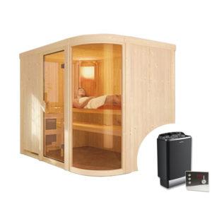 sauna finlandese PARIMA con stufa e pannello