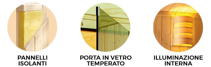 caratteristiche sauna parima