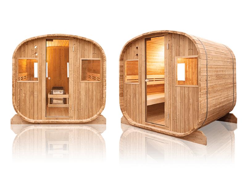Sauna finlandese sauna finlandese da esterno a 6 posti holl 39 s barrel - Sauna da esterno ...