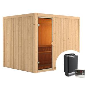 sauna finlandese gobin kit sauna con stufa e pannello