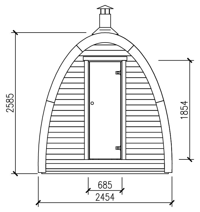 sauna finlandese da esterno dimensioni front