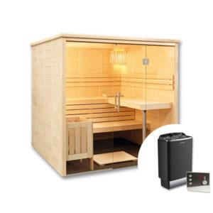 sauna finlandese freya con stufa e pannello