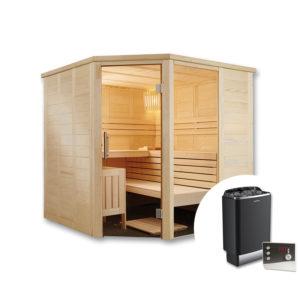 sauna finlandese inge con stufa e pannello